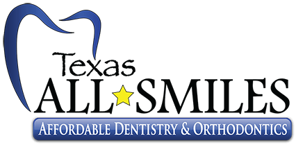 Our Texas All Smiles Logo is blue with a Texas yellow star
