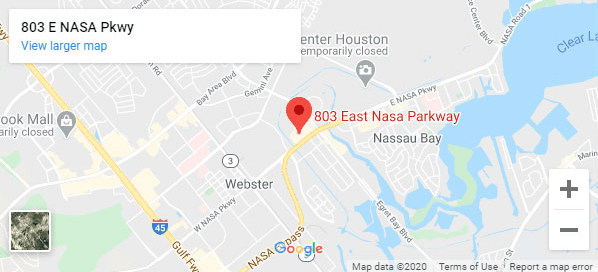Google Maps of our location at 803 E Nasa Pkwy in Webster, TX